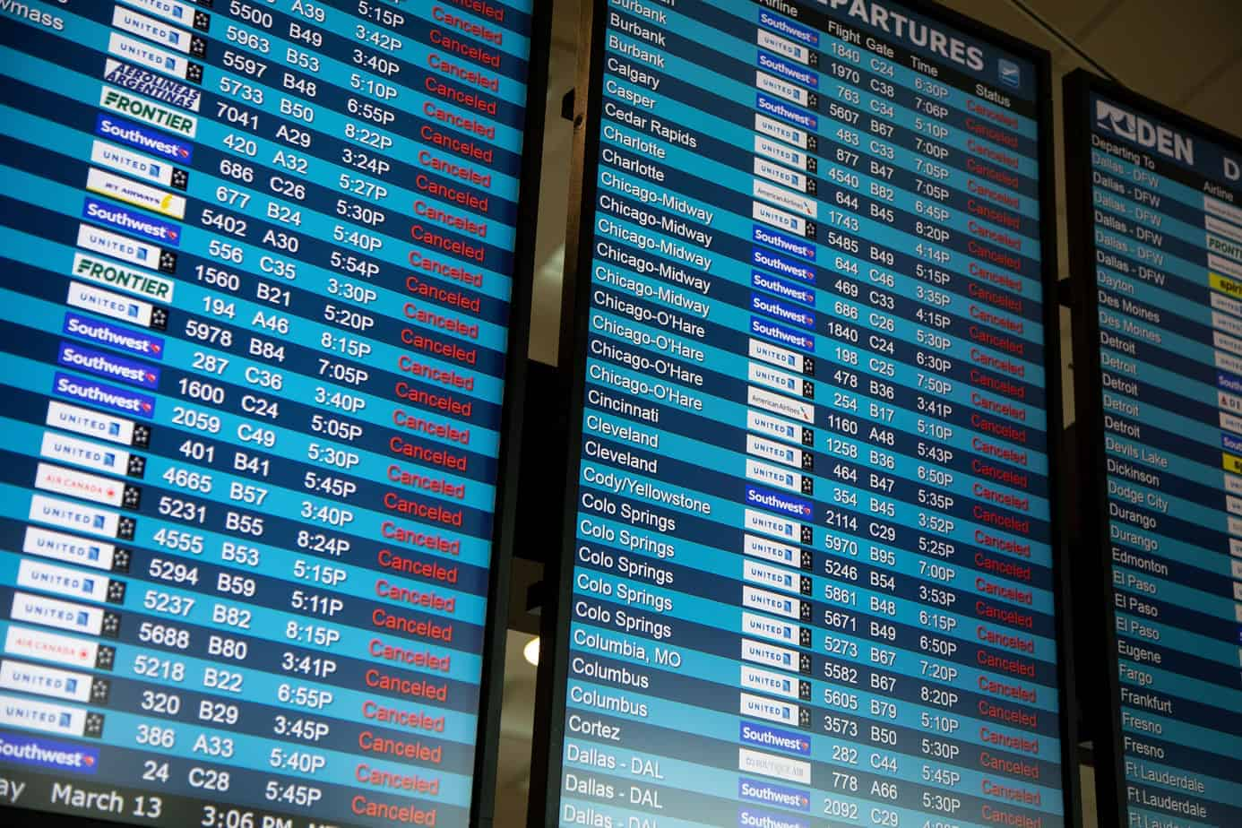 Airport display board showing all cancelled flights