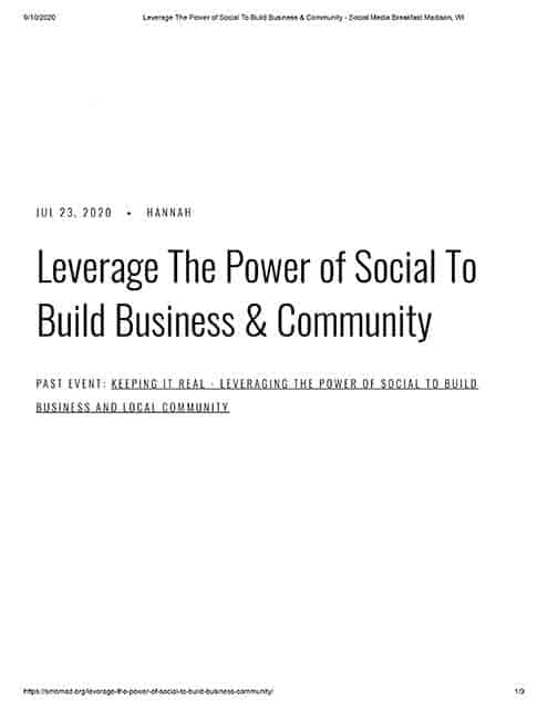 Leverage the Power of Social to Build Business & Community